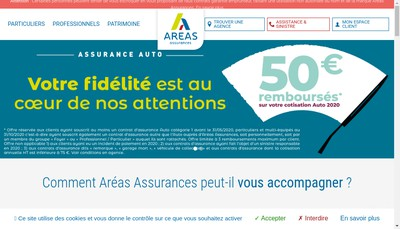 Site internet de Areas Assurances