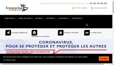 Site internet de Armurerie Peche des Mille Etangs
