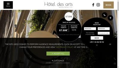 Site internet de Societe Hotel des Arts