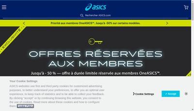 Site internet de Asics France