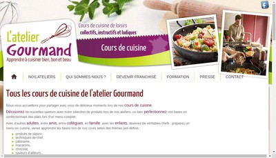 Site internet de L'Atelier Gourmand