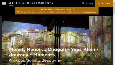 Site internet de L'Atelier des Lumieres