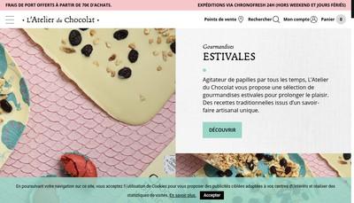 Site internet de Atelier du Chocolat