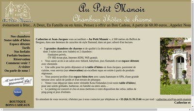 Site internet de Au Petit Manoir
