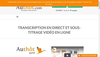 Site internet de Authot