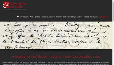 Site internet de Autographes des Siecles EURL