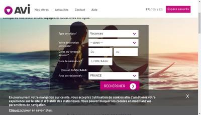 Site internet de Les Assurances de Paris - Avi International