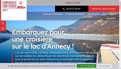 Site internet de La Cie des Bateaux et Taxi Lac