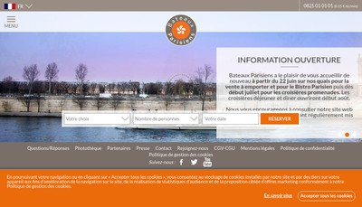 Site internet de Bateaux Parisiens