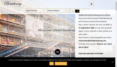 Site internet de Hotel Beaubourg