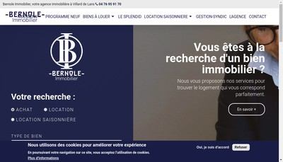 Site internet de Bernole Immobilier
