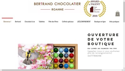 Site internet de Bertrand Chocolatier