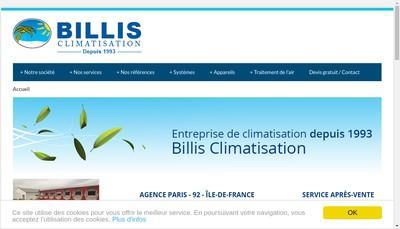 Site internet de Billis Climatisation