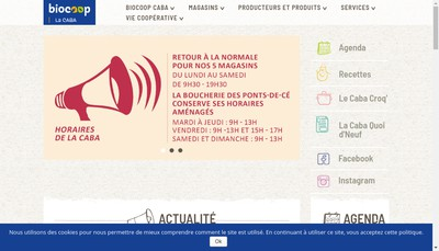 Site internet de Biocoop Caba Angers