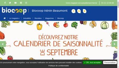 Site internet de Biocoop Henin Beaumont