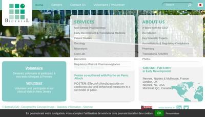 Site internet de Biotrial Paris