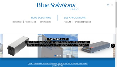 Site internet de Blue Solutions