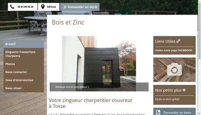 Site internet de Bois et Zinc