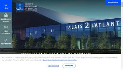 Site internet de Congres et Expositions de Bordeaux SAS