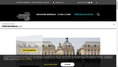 Site internet de Office du Tourisme de Bordeaux