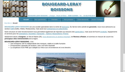 Site internet de Bougeard-Leray Boissons
