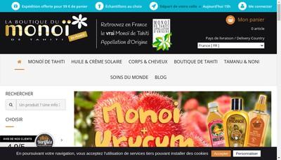 Site internet de La Boutique du Monoi
