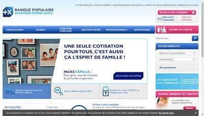 Site internet de Banque Populaire Auvergne Rhone Alpes
