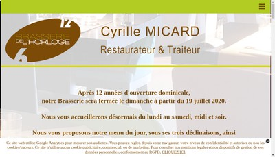 Site internet de Brasserie de l'Horloge