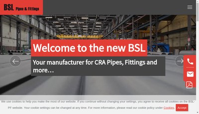 Site internet de Bsl Pipes &Fittings