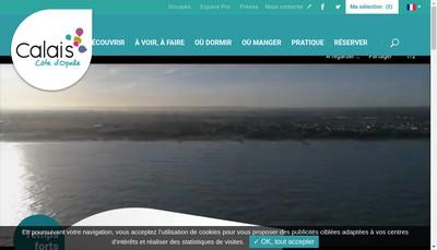 Site internet de Office de Tourisme Intercommunal Calais Cote d'Opale