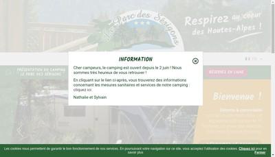 Site internet de Le Parc des Serigons