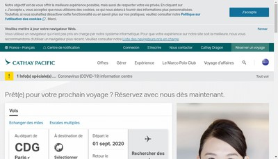 Site internet de Cathay Pacific Airways Limited