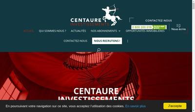Site internet de Centaure Investissements