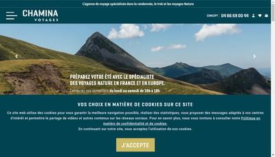 Site internet de Chamina Voyages