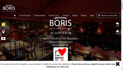 Site internet de Brasserie Chez Boris