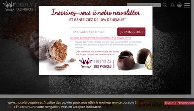 Site internet de Chocolat des Princes