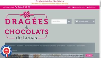 Site internet de Dragees et Chocolats de Limas