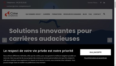 Site internet de Cime Competences