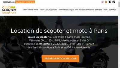 Site internet de Club Scooter