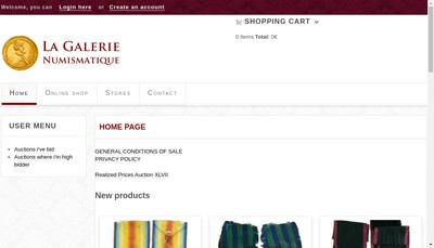Site internet de Galerie Numismatique
