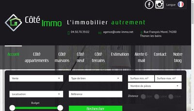 Site internet de Cote Immo