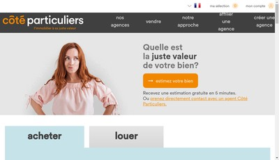 Site internet de Cote Particuliers : l'Immobilier a SA Juste Valeur