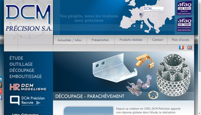 Site internet de Dcm Precision