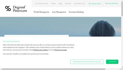Site internet de Degroof Petercam Investment Banking
