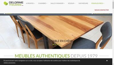 Site internet de Delorme Meubles