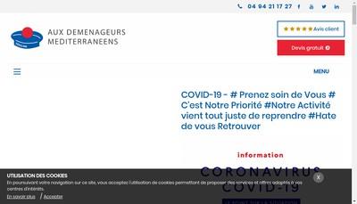 Site internet de Aux Demenageurs Mediterraneens