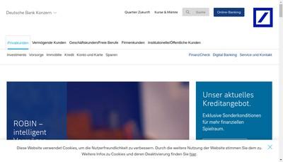 Site internet de Deutsche Bank Aktiengesellschaft