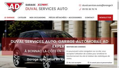 Site internet de Duval Services Auto