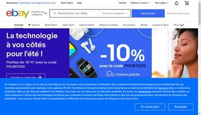 Site internet de Ebaymotors Ebayimmobilier Ebayachatexpre