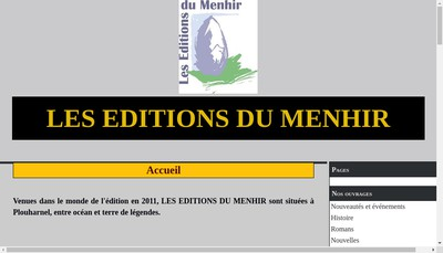 Site internet de Les Editions du Menhir